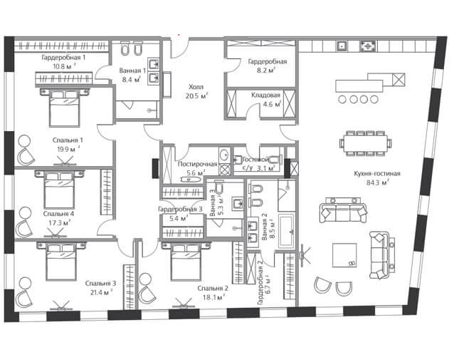 Апартаменты с четырьмя спальнями