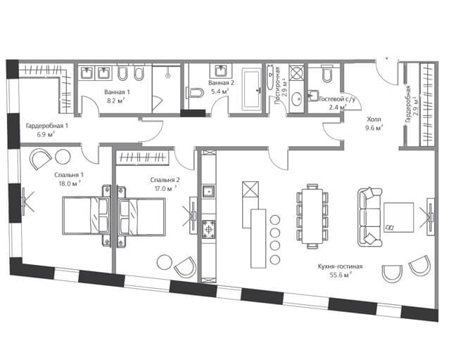 Две спальни с видом на Курсовой